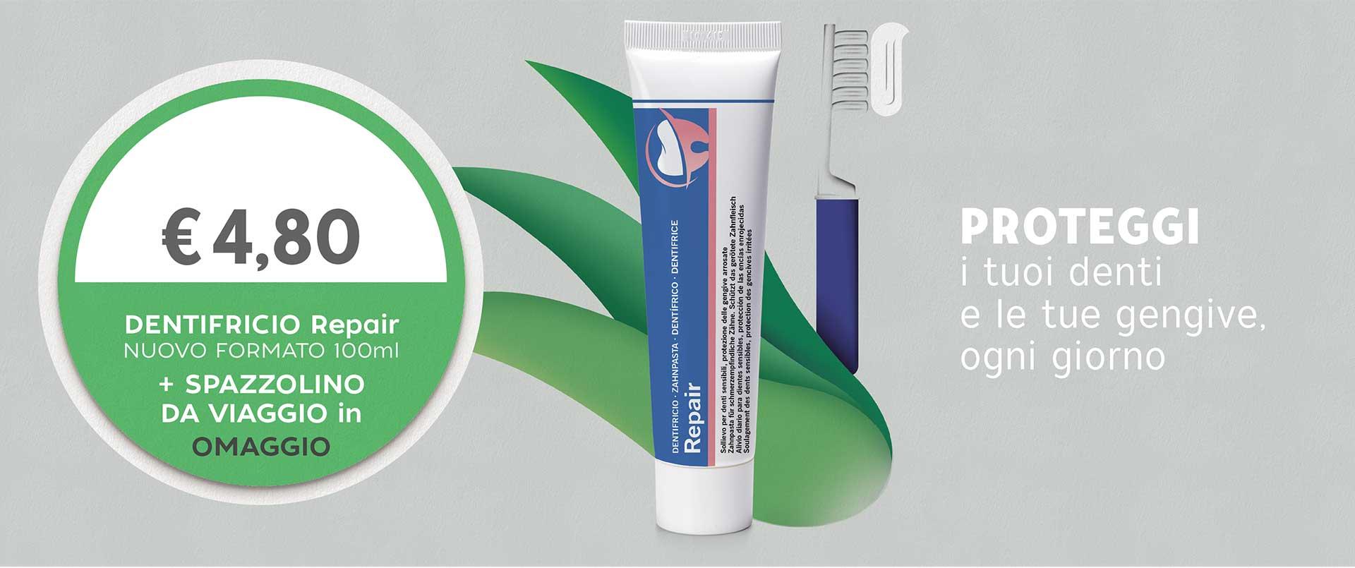 DENTIFRICIO Repair con spazzolino da viaggio farmacia dell'asilo susa